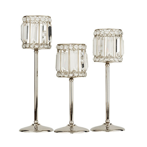 Polished Nickel & Crystal Candle Holders