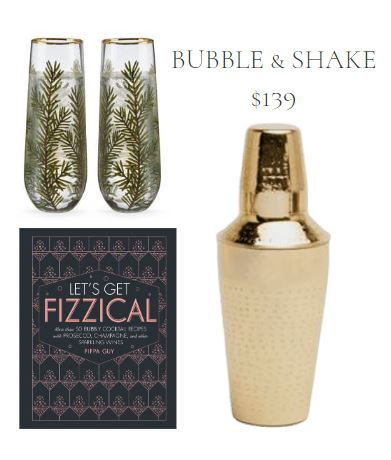 Holiday Gift Set with Evergreen Printed Stemless Champagne Flutes, Champagne Cocktail Recipe Book, and Etched Brass Cocktail Shaker