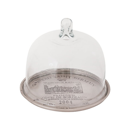 Silver Tray with Glass Cloche