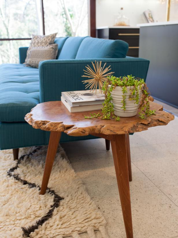 Mid Century Modern Living Room with Teal Sofa and Live Edge Wood End Table