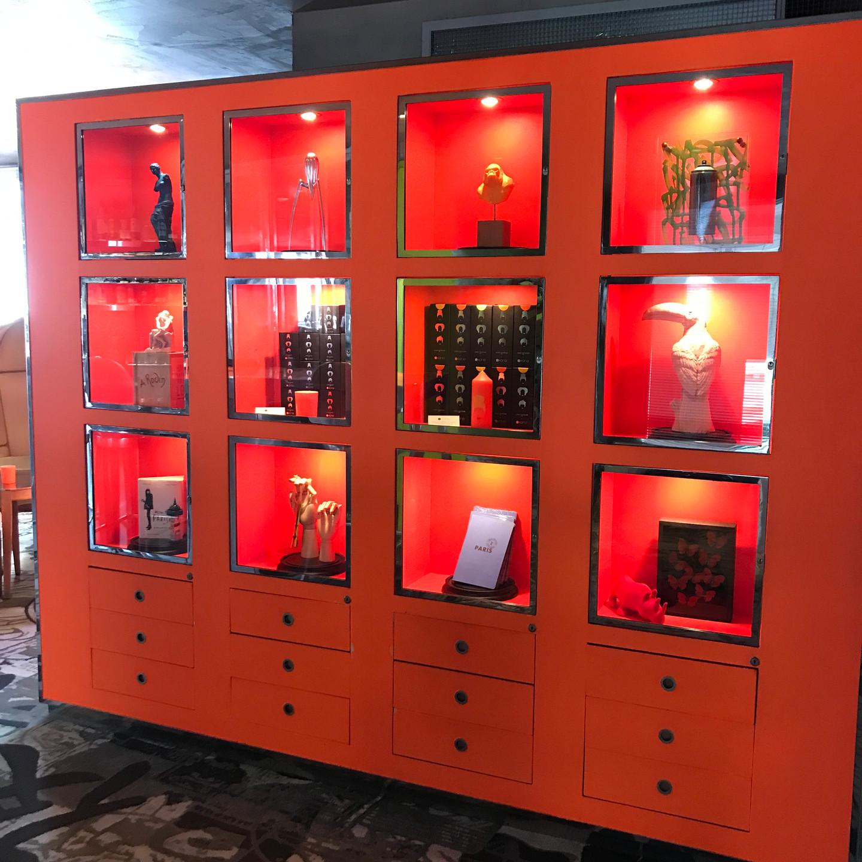 Orange Curio Cabinet at Kong Restaurant in Paris