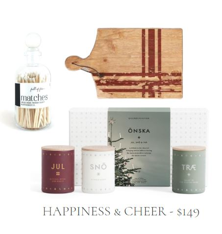 Holiday Gift Set with Scented Candle Trio, Red Plaid Charcuterie Board, and White Matches in Glass Decorative Jar