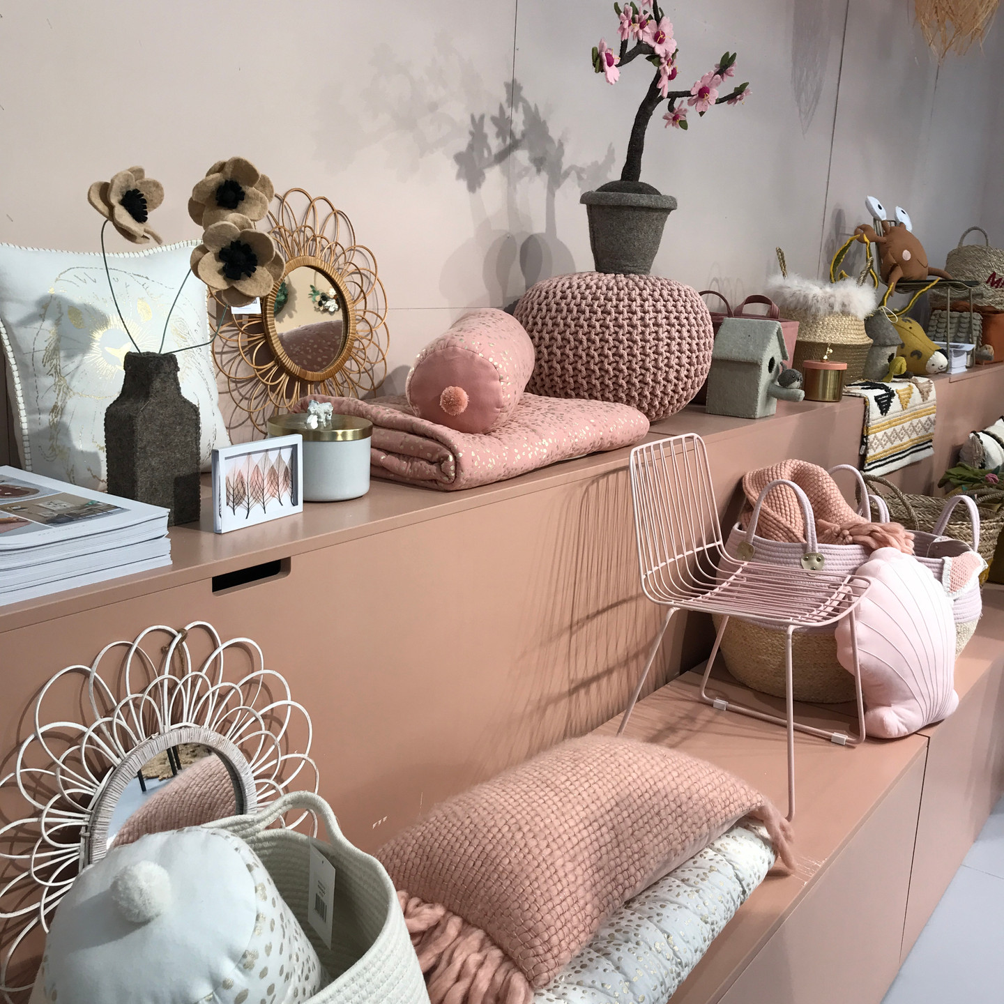 Blush Home Display with Kids Chair, Pouf, Pillows, Baskets, and Gold Wire Mirrors