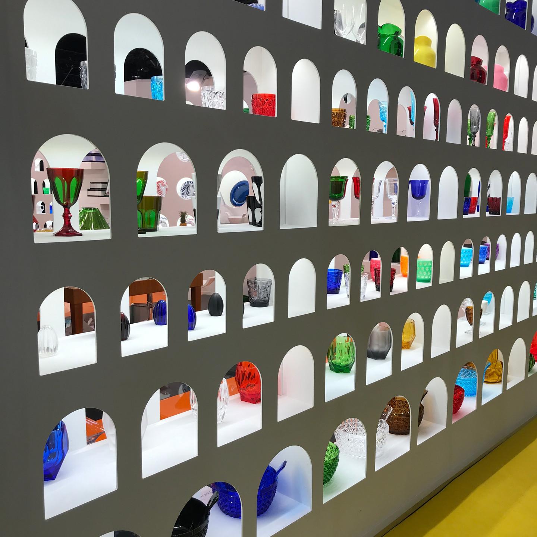 Colorful Glassware Display Wall