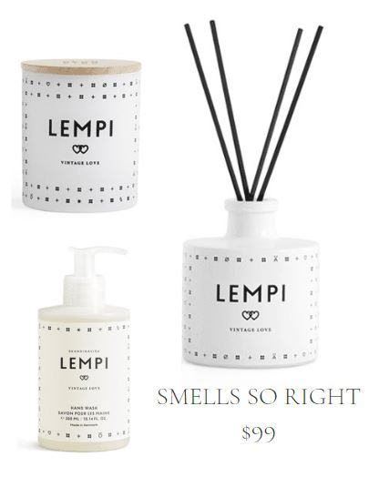 Home fragrance gift set including candle, hand soap, and reed diffuser