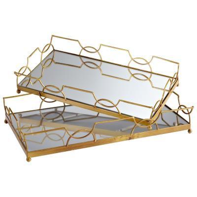 Antique Brass Mirrored Trays