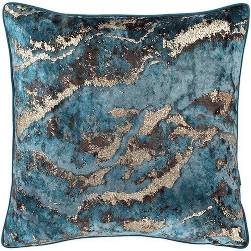 Marbled Turquoise Velvet Throw Pillow