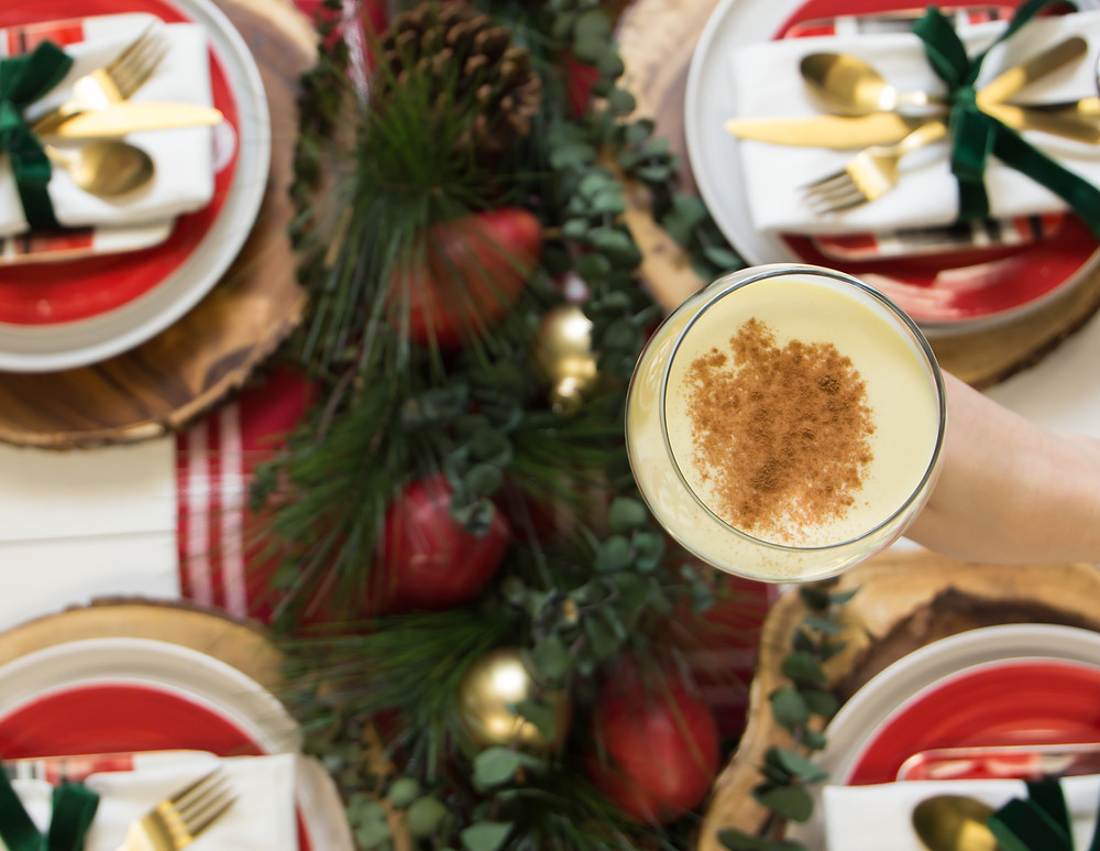 Eggnog Toast Over Holiday Tablescape