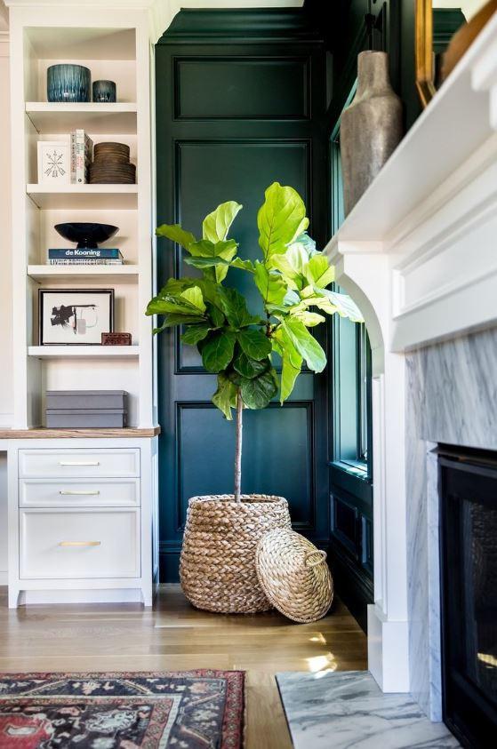 Awkward corner with faux fiddle leaf fig in a basket