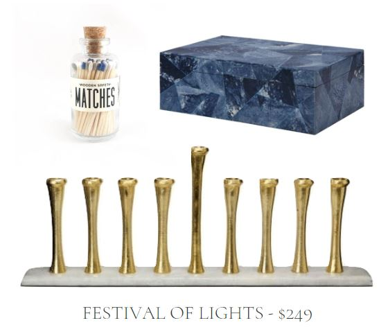 Hanukkah Gift Set with Blue Matches in Glass Decorative Jar, Blue Box, and Brass and White Marble Menorah