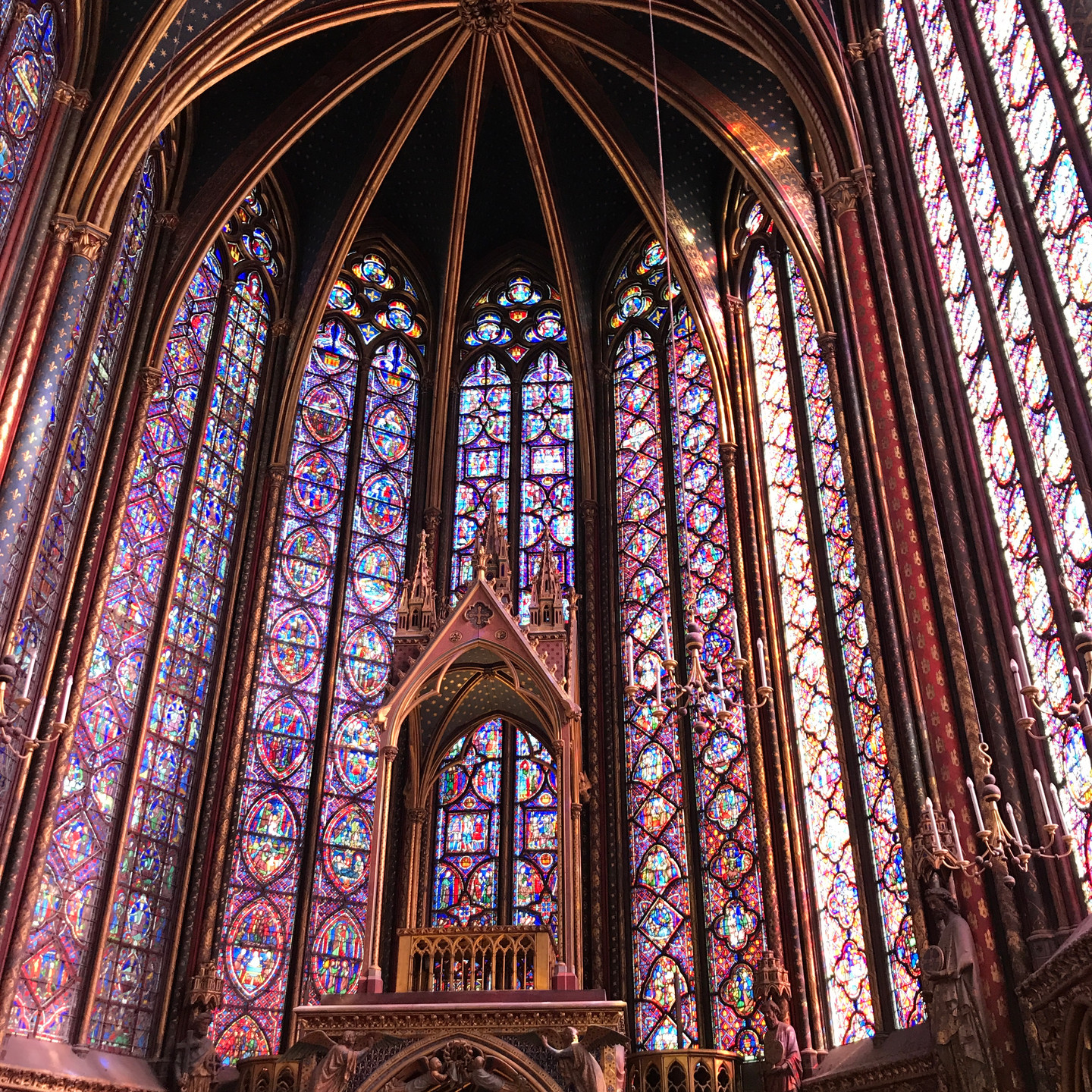 Stained Glass Windows and Lectern at Sainte Chapelle in Paris