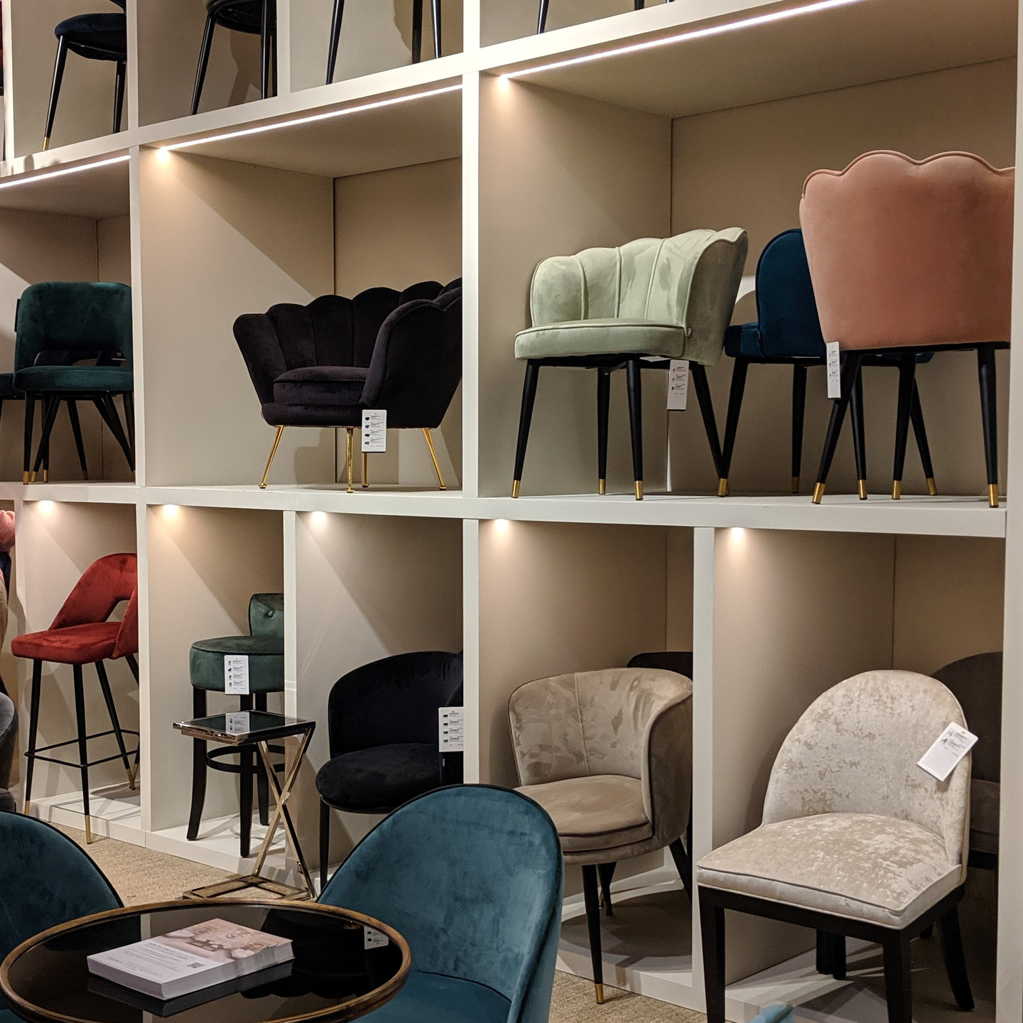 Assorted Velvet Dining Chairs on Display