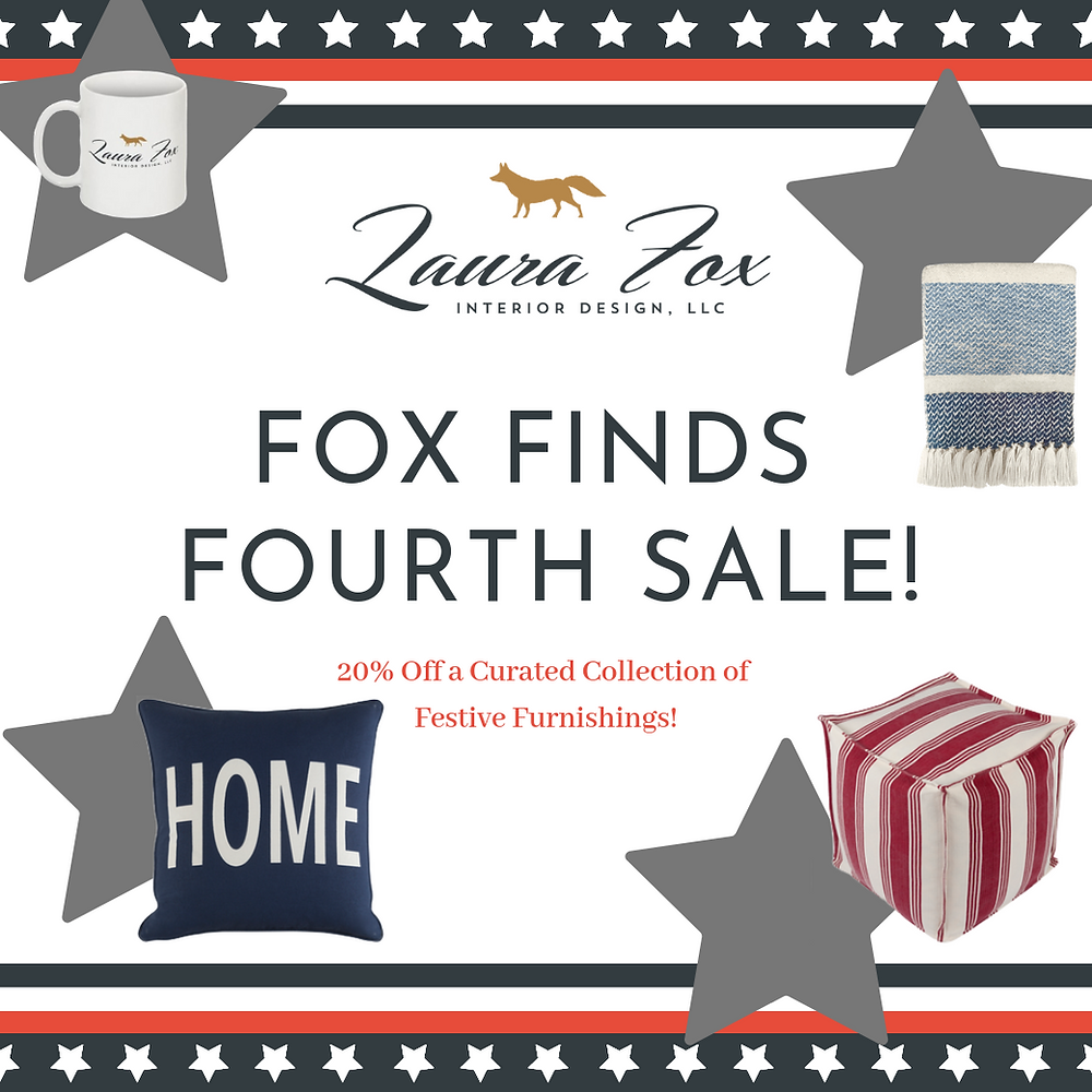 Fourth of July Housewares Sale Ad with Coffee Mug Throw Blanket Throw Pillow and Pouf