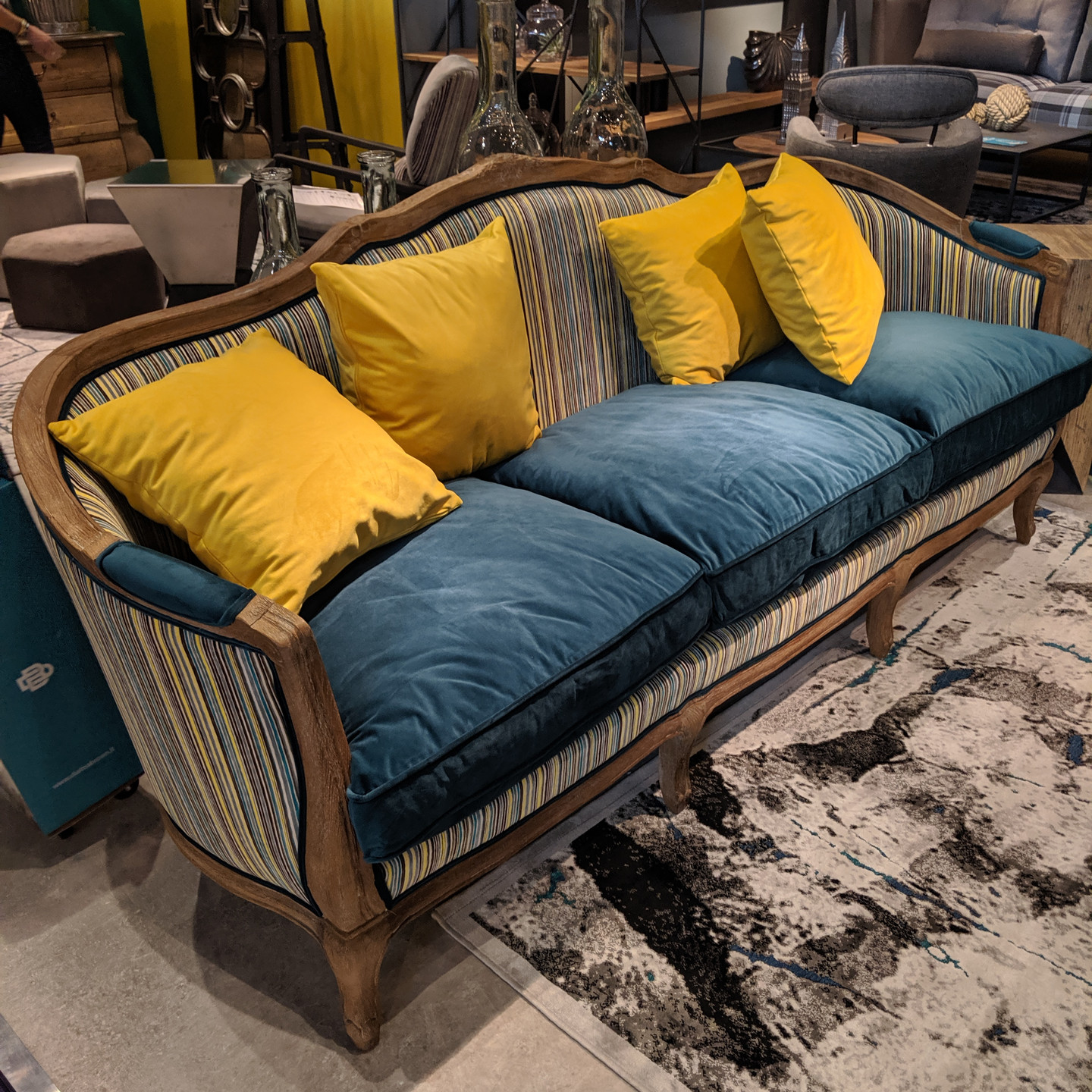 Antique Inspired Sofa with Striped Fabric, Turquoise Velvet Cushions, Mustard Yellow Throw Pillows