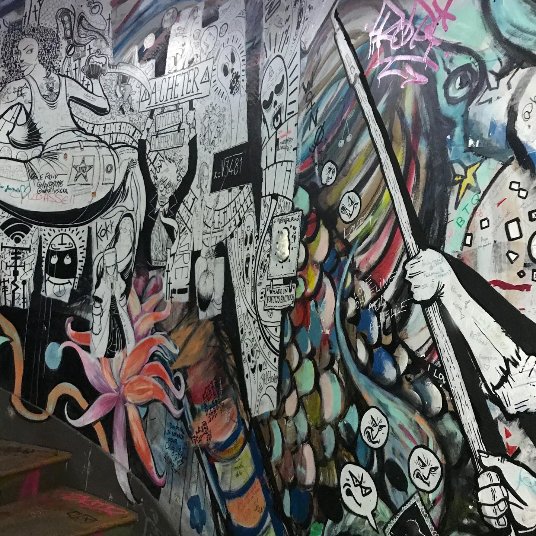 Modern Art Mural at 59 Rivoli Artist Collective in Paris