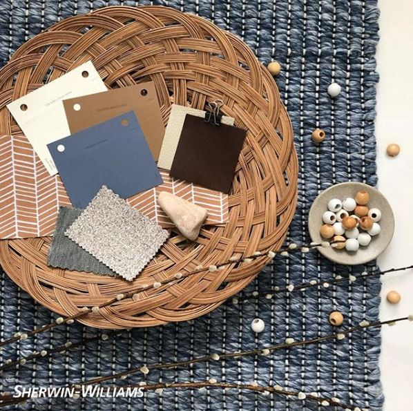 Sherwin Williams Paint Color Inspiration Baked Cookie, Distance, and Dover White