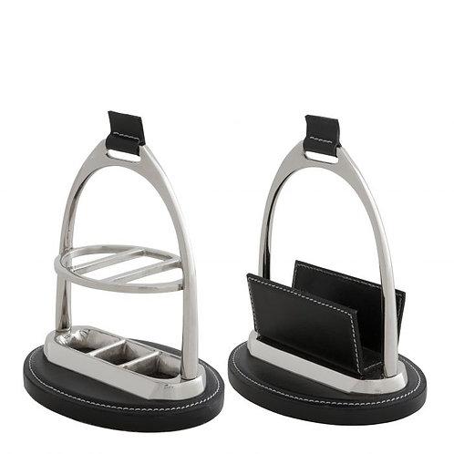 Leather & Nickel Desk Set
