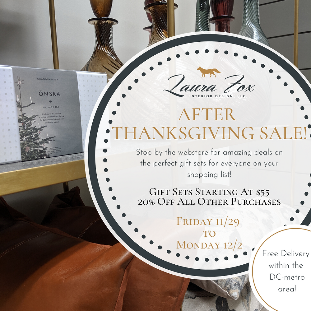 After Thanksgiving/Black Friday Sale Ad featuring throw pillows, decanters, and holiday scented candles. Gift sets starting at $55