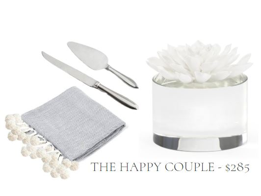 Gift set for engagement or wedding including a pewter cake set, white porcelain succulent sculpture, and grey and white herringbone throw blanket with white pom pom trim