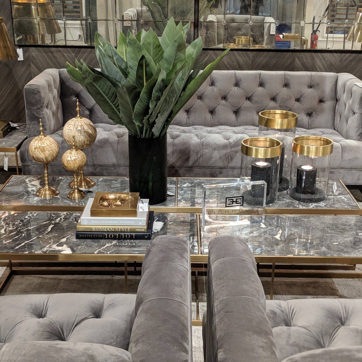 Grey Velvet Tufted Sofa and Chairs with Marble Cocktail Tables