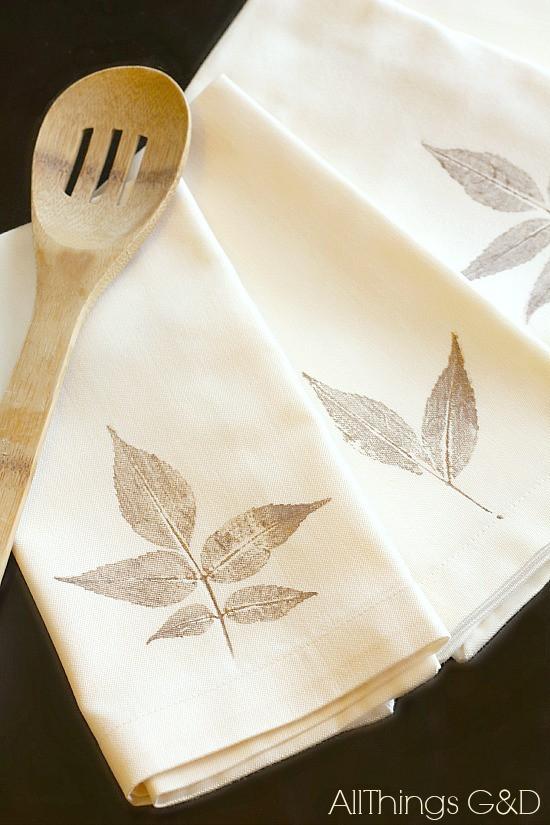 DIY Leaf Napkins