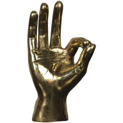 Brass OK Sign Sculpture