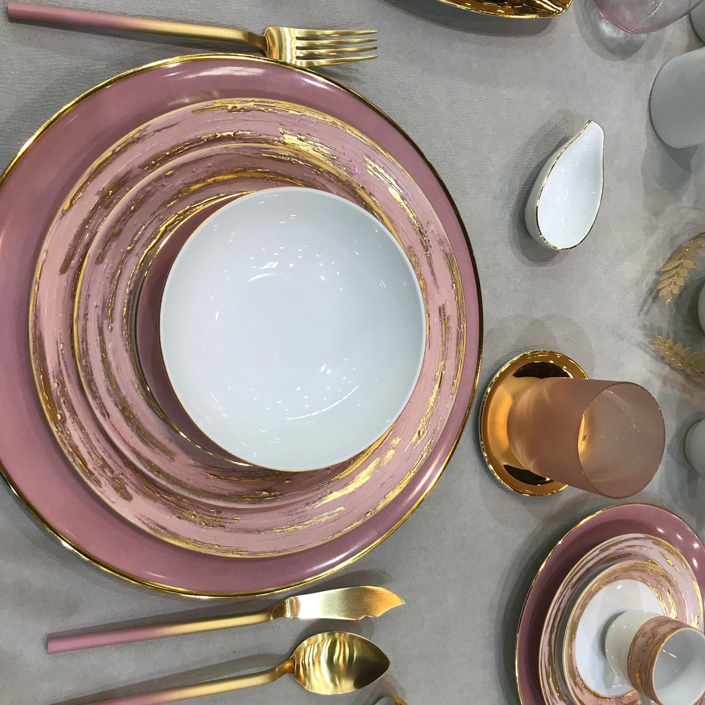 Mauve & Gold Porcelain Place Setting