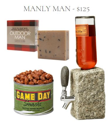 Masculine Gift Set including Cedar & Vanilla Scented Bar Soap, Butter Toffee Peanuts, and Stone Liquor Dispenser