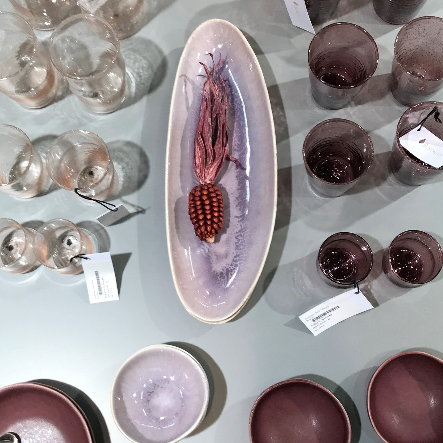 Mauve and Burgundy Dishes Plates Bowls Servingware and Glasses