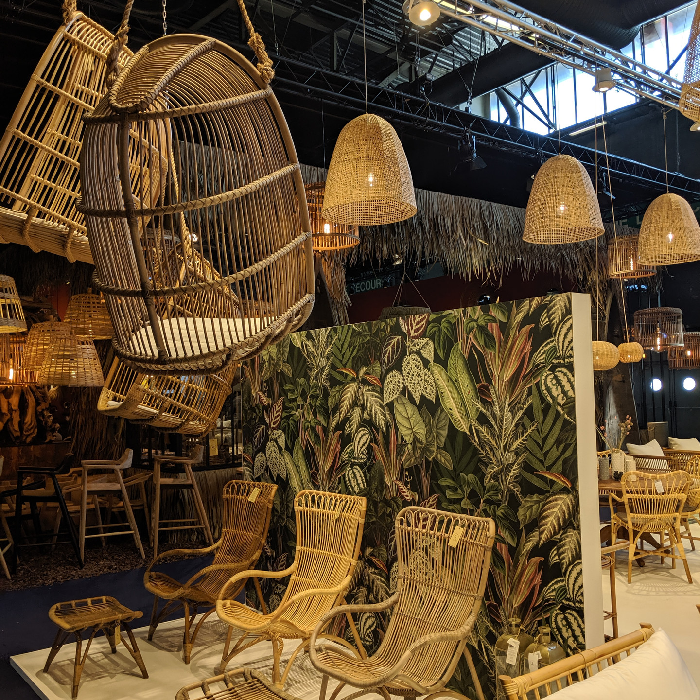 Sika Design Maison & Objet Cane Furniture Display with Jungle Wallpaper