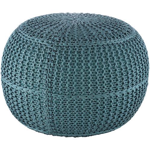 Turquoise Knit Pouf
