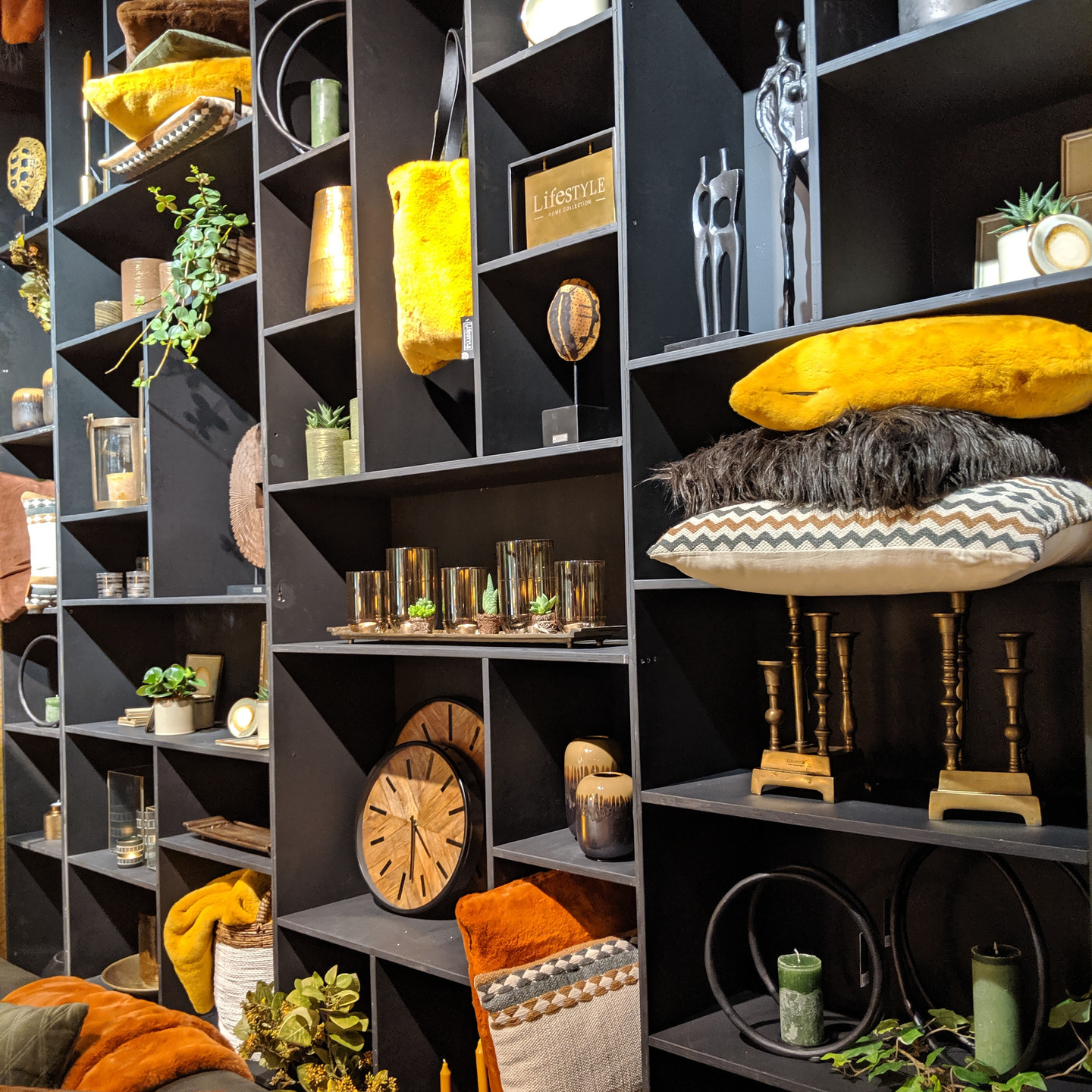 Grey Cube Shelves with Home Accessories and Mustard Yellow Accents