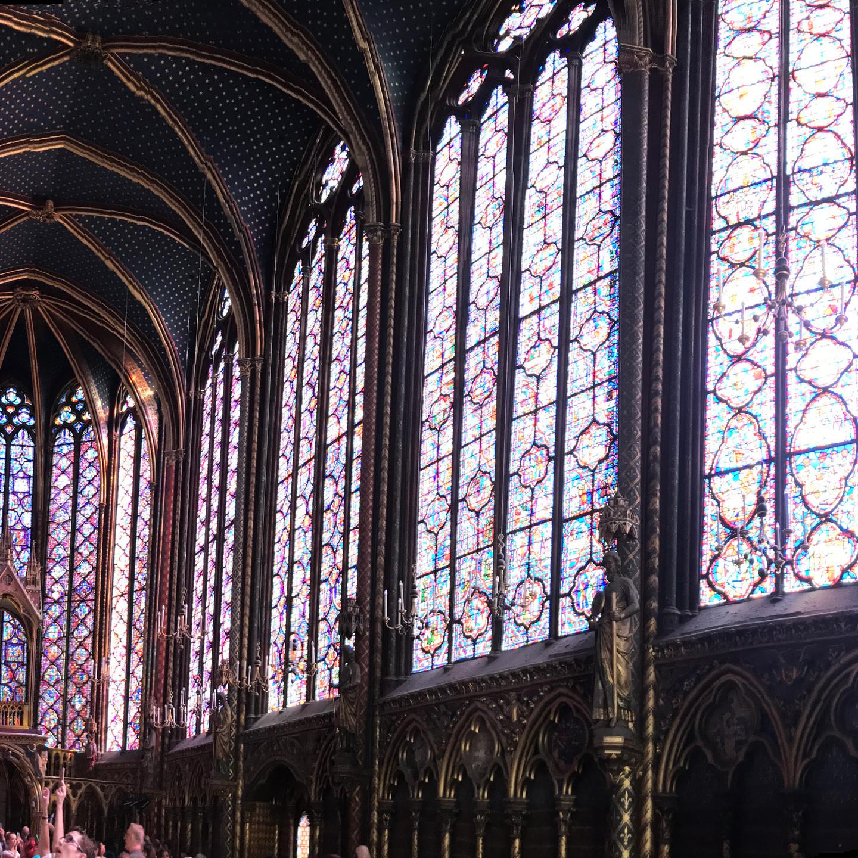 Interior of Sainte Chapelle in Paris