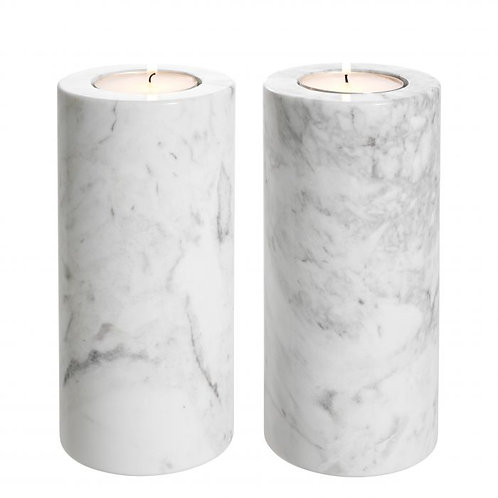 Set of Two Marble Candle Holders