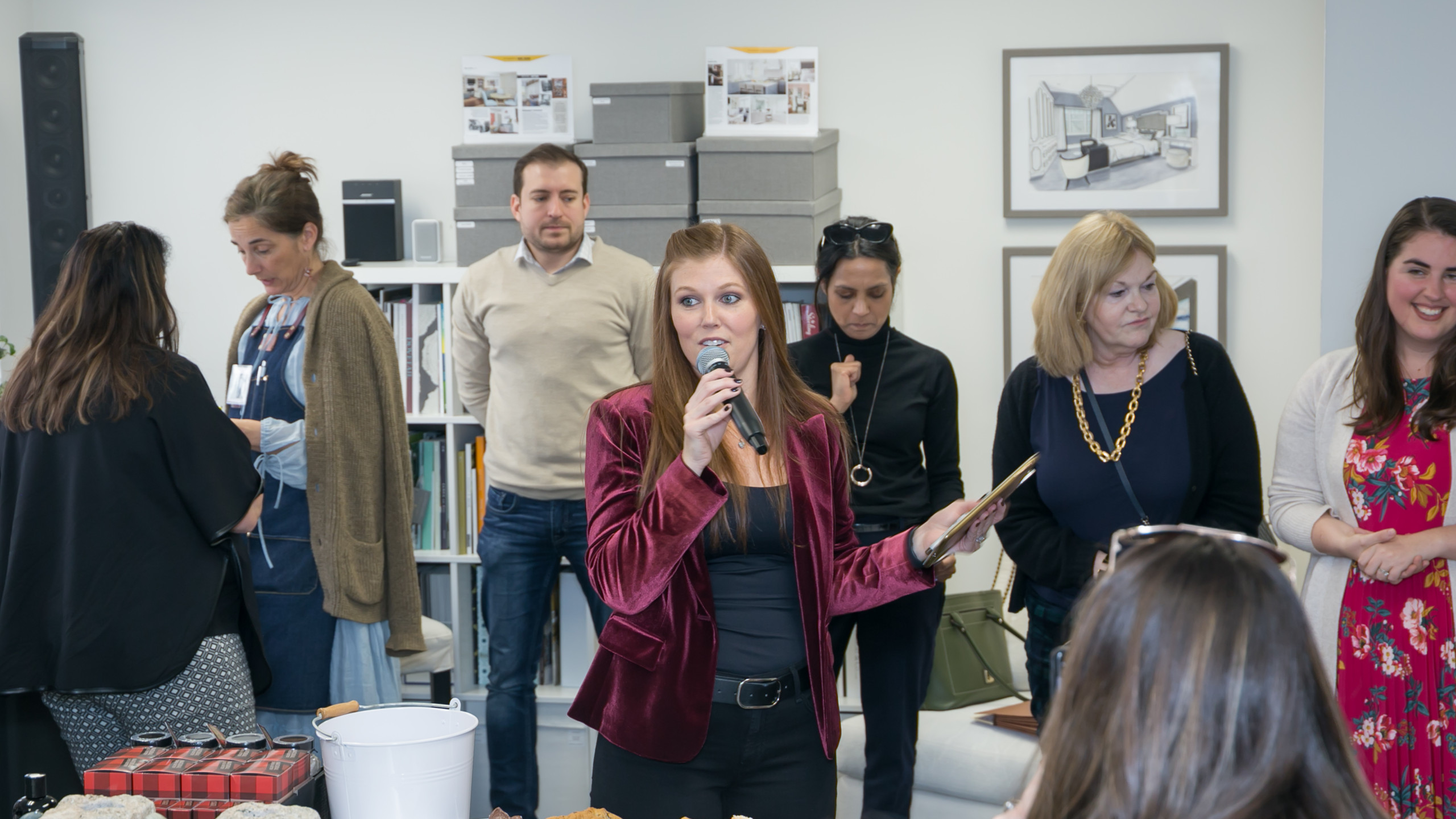 Laura Fox speaking at open house & pop-up shop event