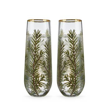 Pair of Evergreen Stemless Champagne Flutes
