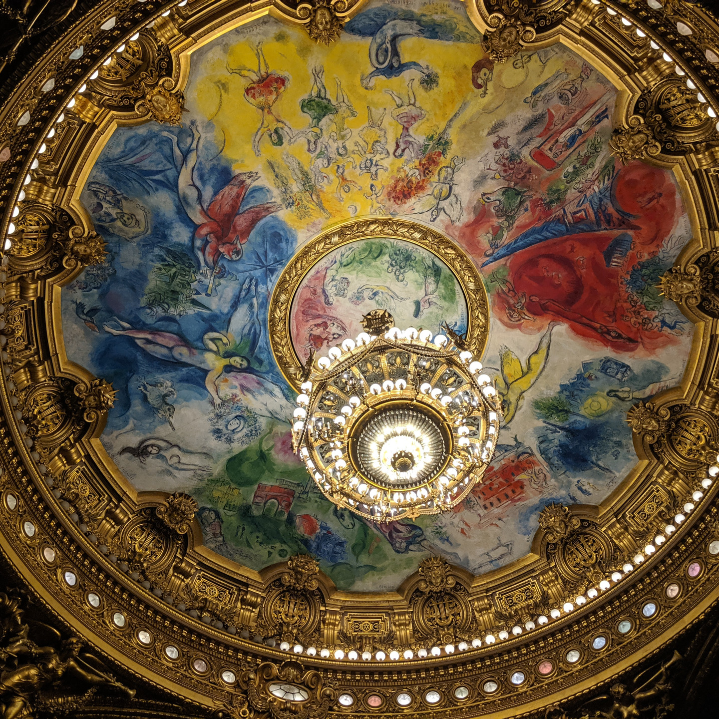 Modern Ceiling Art and Chandelier in the Auditorium at the Palais Garnier Paris Opera House
