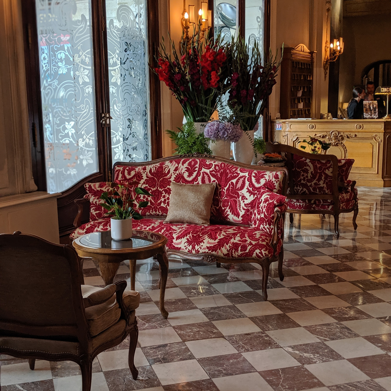Lobby at the Hotel Regina Louvre in Paris
