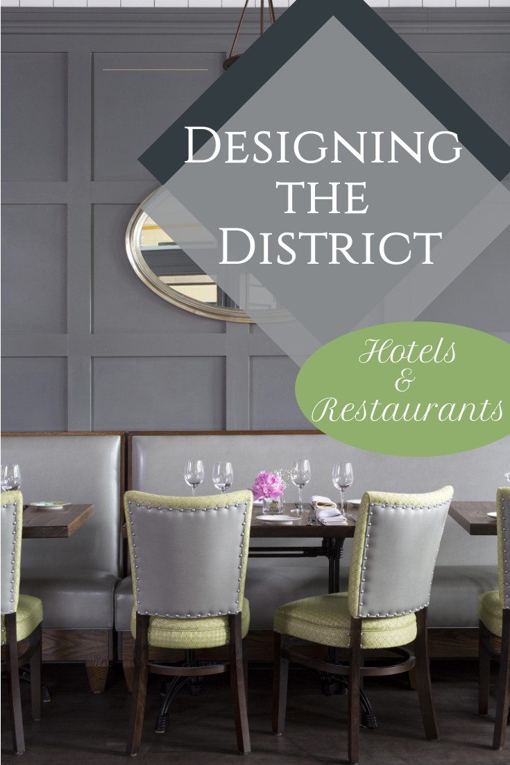Macon Bistro restaurant in Chevy Chase neighborhood of Washington DC with grey walls, industrial tables, and grey and green upholstered chairs