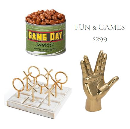 Gift Set with Butter Toffee Peanuts, Oversize White and Brass Tic Tac Toe Game, and Brass Hand Sculpture of the Spock Sign