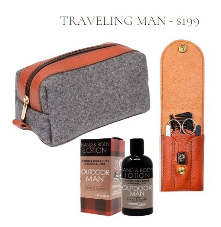 Masculine Travel Gift Set including grey wool and cognac leather toiletry bag, cognac leather grooming kit, and cedar & vanilla scented hand and body lotion
