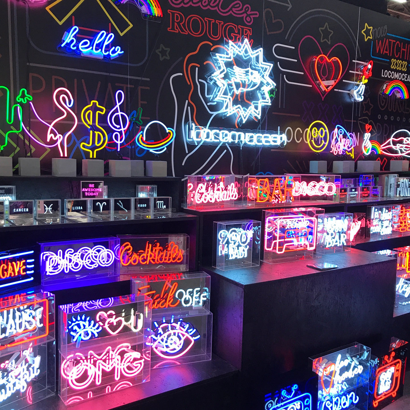 Wall of decorative neon signs