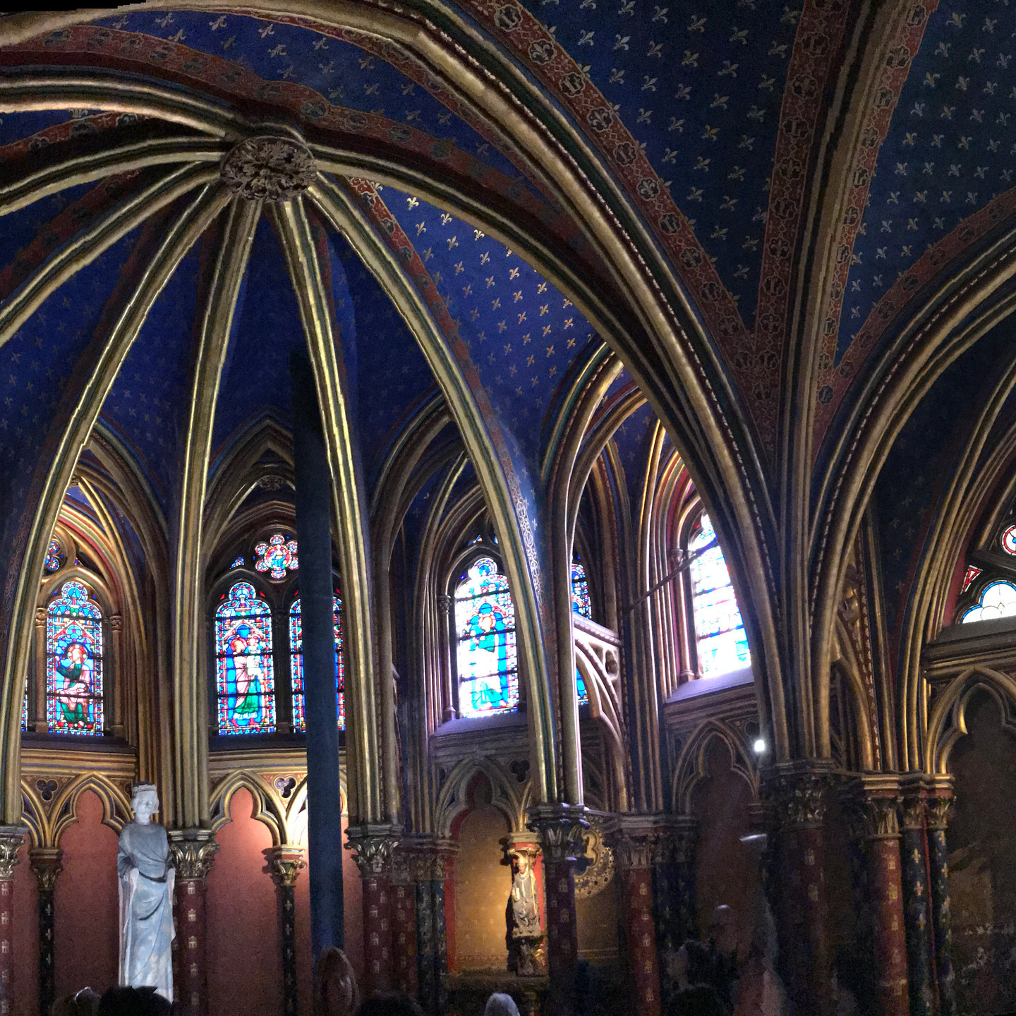 Vaulted Ceiling and Stained Glass at Sainte Chapelle in Paris