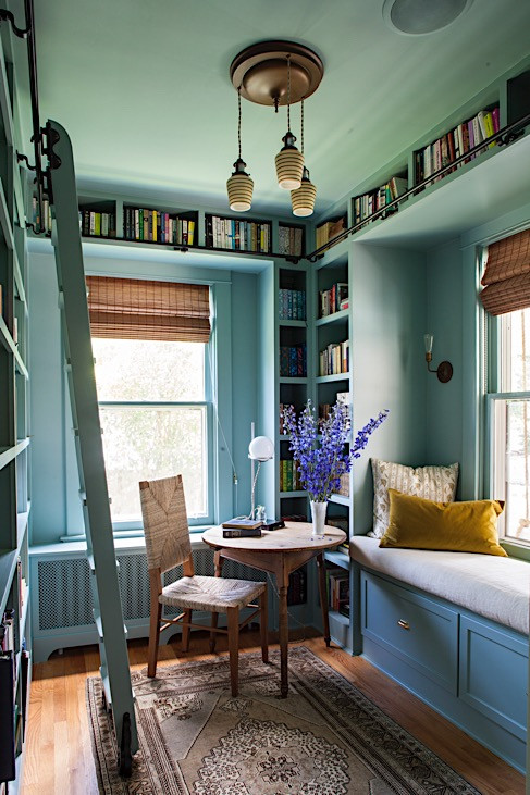 Aqua Painted Home Library with Built In Bookcases, Window Seat, Table, & Chair