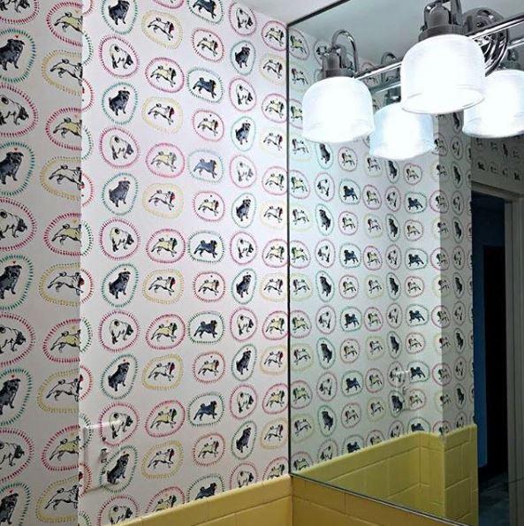Colorful pug wallpaper powder room