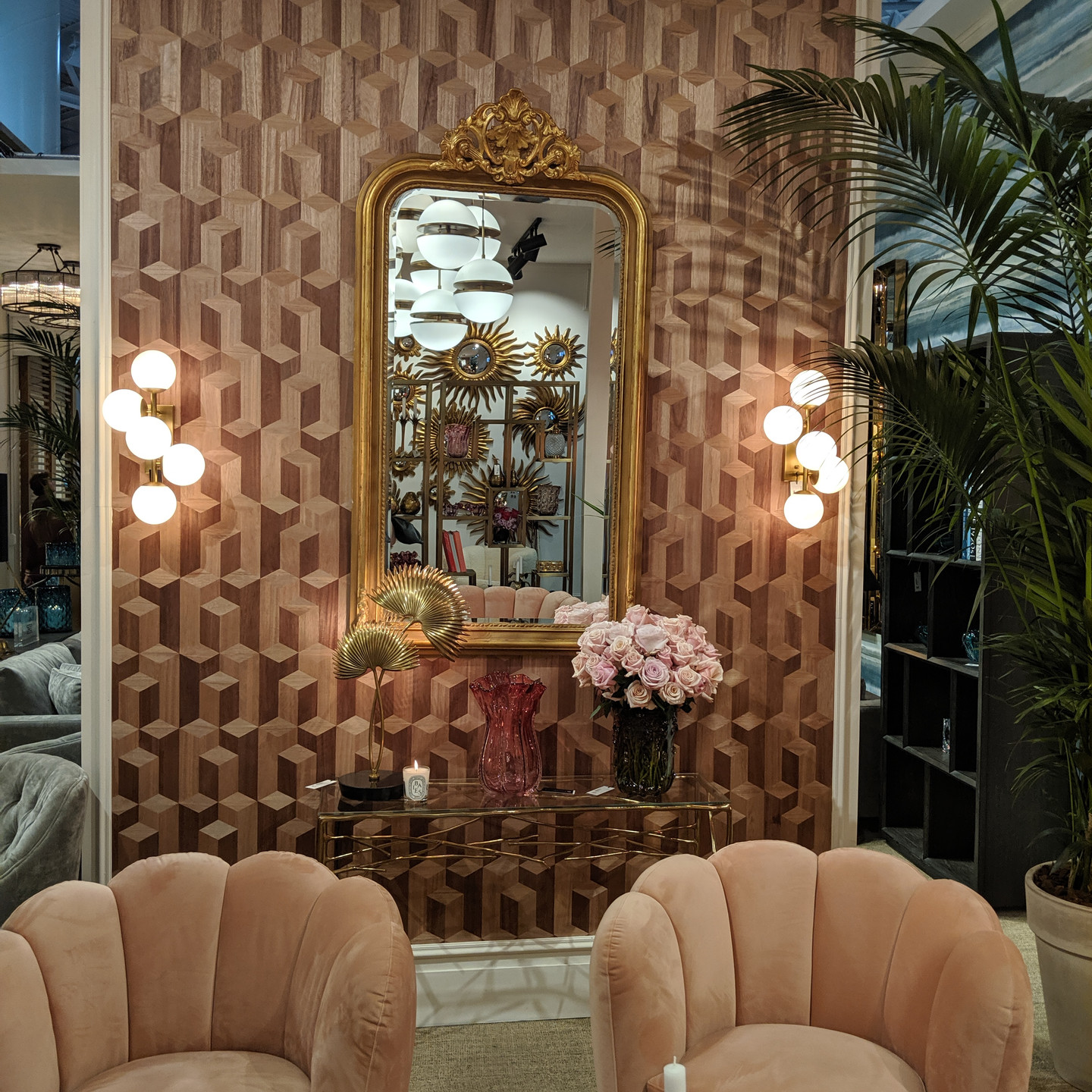 Mauve & Rose Sitting Area with Velvet Chairs, Wallpaper, and Large Gold Mirror