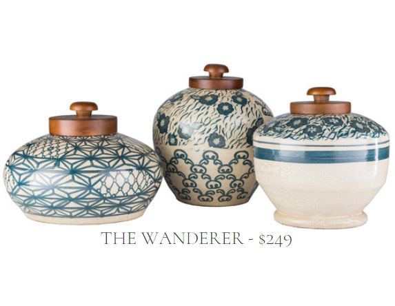 Gift Set of Three Coordinatoing Turquoise and Beige Terracotta Jars with Wood Tops