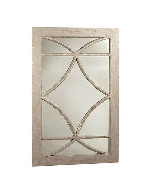 Greige Distressed Wood Frame Mirror