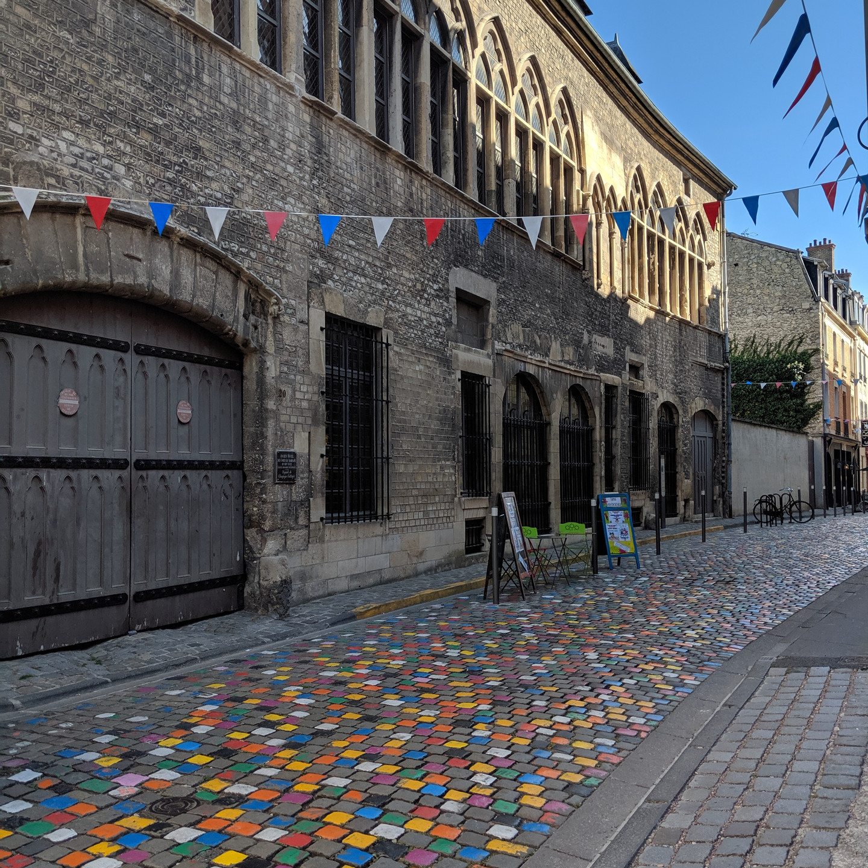 Rainbow Cobblestone Street in Reims France