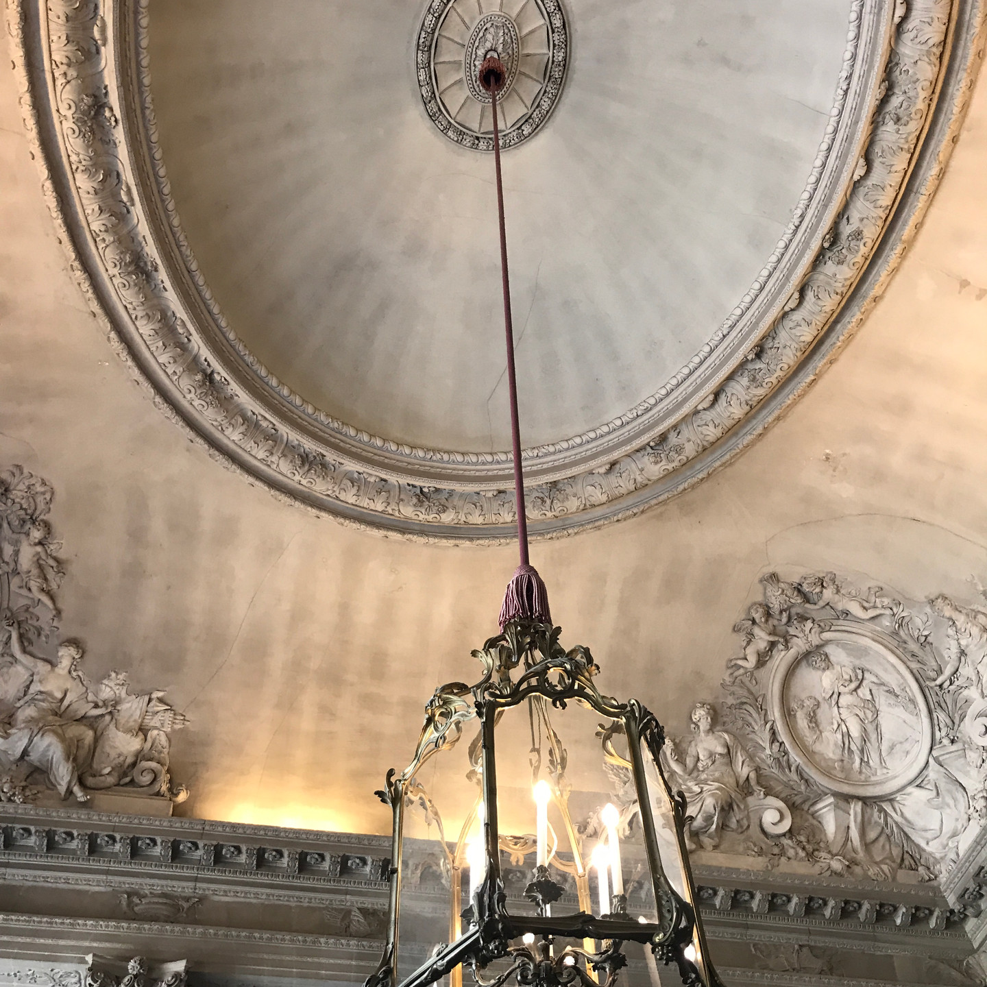 Carved Ceiling Detail and Chandelier at Versailles